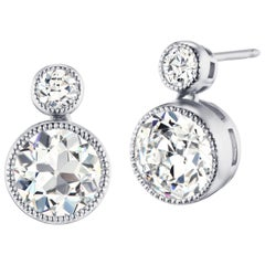 5.12 Carat Old European Cut Diamond GIA Certified Platinum Earrings