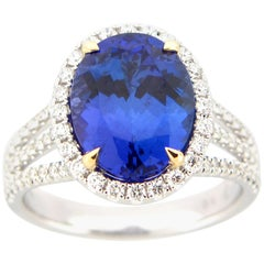 5.12 Carat Oval Tanzanite and Diamond Cocktail Ring