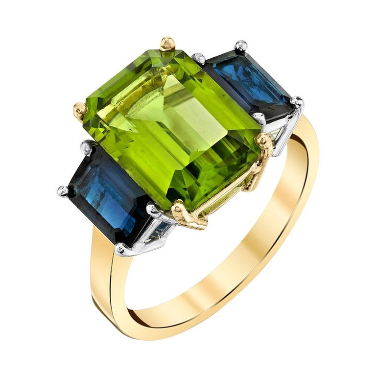 5.12 Carat Peridot and Sapphire White and Yellow Gold 3-Stone Cocktail Ring For Sale