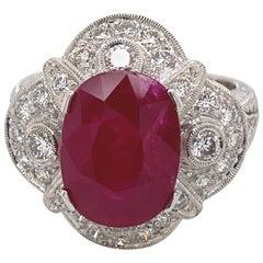 5.12 Carat Ruby with Diamond Edwardian Inspire Ring 18 Karat White Gold