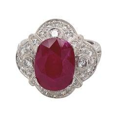 5.12 Carat Ruby with Diamond Edwardian Inspired Ring 18 Karat White Gold