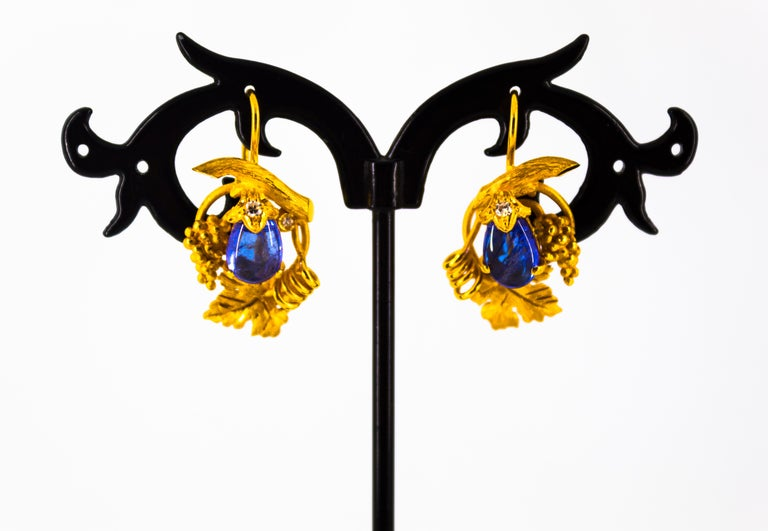 5.12 Carat White Diamond Tanzanite Yellow Gold Lever-Back Earrings For Sale 5