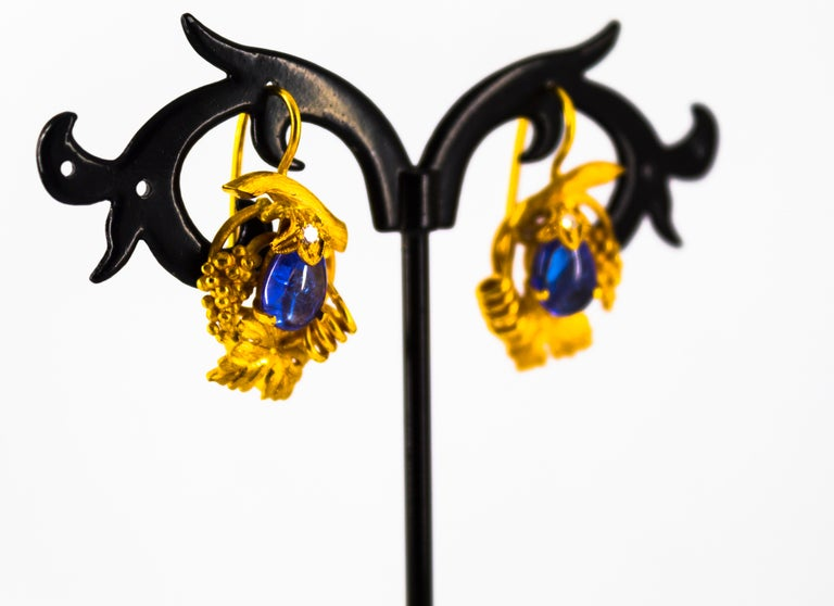 5.12 Carat White Diamond Tanzanite Yellow Gold Lever-Back Earrings For Sale 6