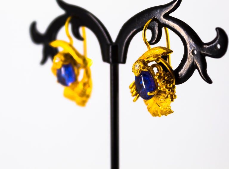 5.12 Carat White Diamond Tanzanite Yellow Gold Lever-Back Earrings For Sale 7