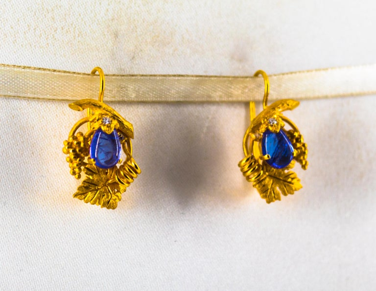 5.12 Carat White Diamond Tanzanite Yellow Gold Lever-Back Earrings In New Condition For Sale In Naples, IT