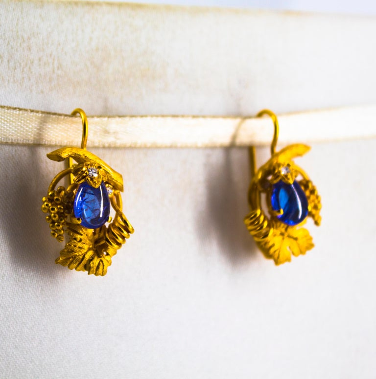 5.12 Carat White Diamond Tanzanite Yellow Gold Lever-Back Earrings For Sale 2