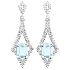 5.12 Carat Aquamarine and White Diamond 14 Karat White Gold Dangling Earrings