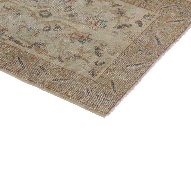 51265, distressed vintage Turkish Sivas rug with rustic farmhouse style. This distressed vintage Turkish Sivas rug with rustic farmhouse style features an unpretentious botanical design composed of leaves, vines, and palmettes. From the distressed