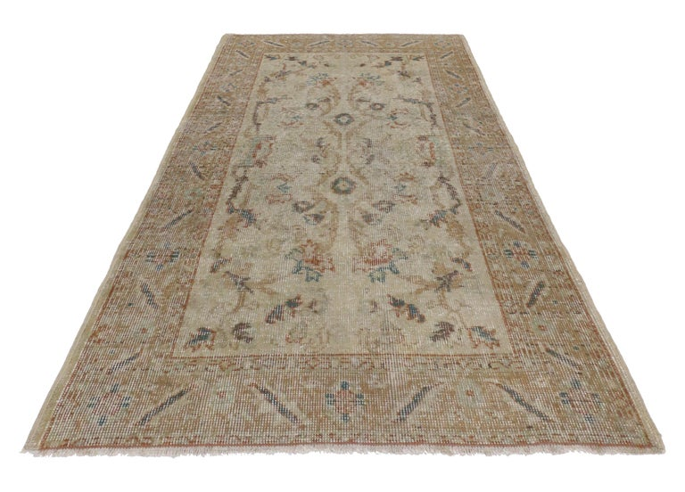 Hand-Knotted Distressed Vintage Turkish Sivas Rug with Rustic Farmhouse Style For Sale