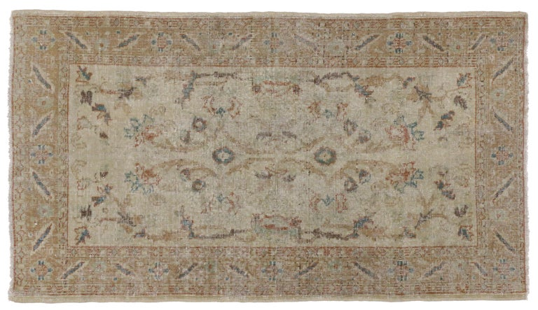 Distressed Vintage Turkish Sivas Rug with Rustic Farmhouse Style In Distressed Condition For Sale In Dallas, TX