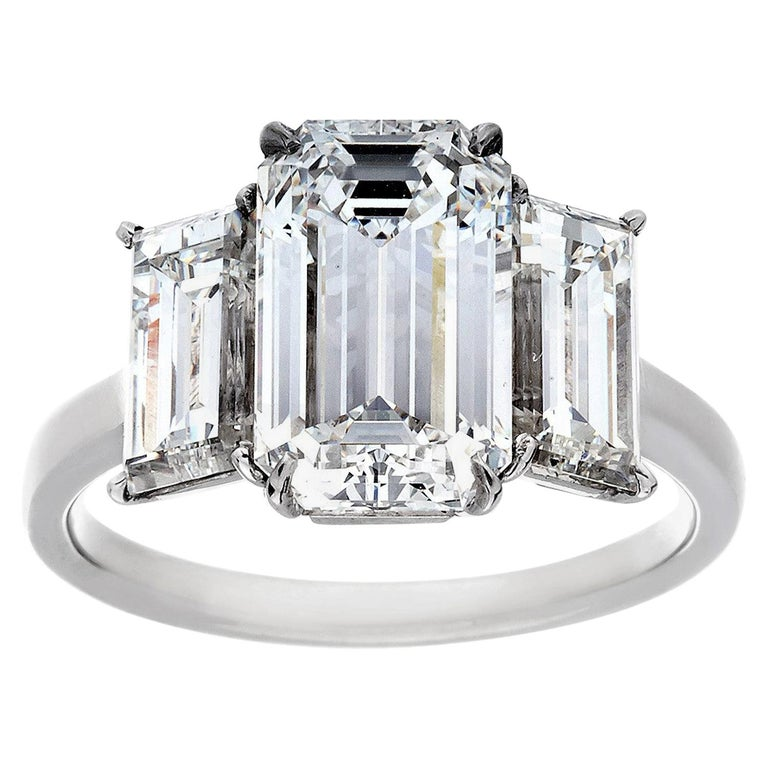 5 13 Carat Total Weight 3 Stone Emerald Cut Diamond Ring For Sale At 1stdibs
