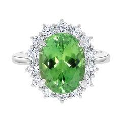 5.13ct Chrome Tourmaline Ring with 1.04ct Diamonds Set in Platinum
