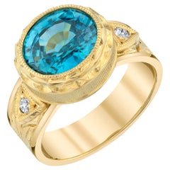 5.14 ct. Blue Zircon and Diamond 18k Yellow Gold Bezel Set Hand Engraved Ring