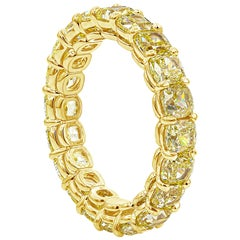 5.14 Carat Cushion Cut Intense Natural Yellow Diamond Eternity Wedding Band