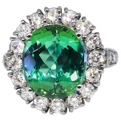 5.14 Carat Natural Mint Green Tourmaline and 1.70 Carat Diamond Ring Black Gold