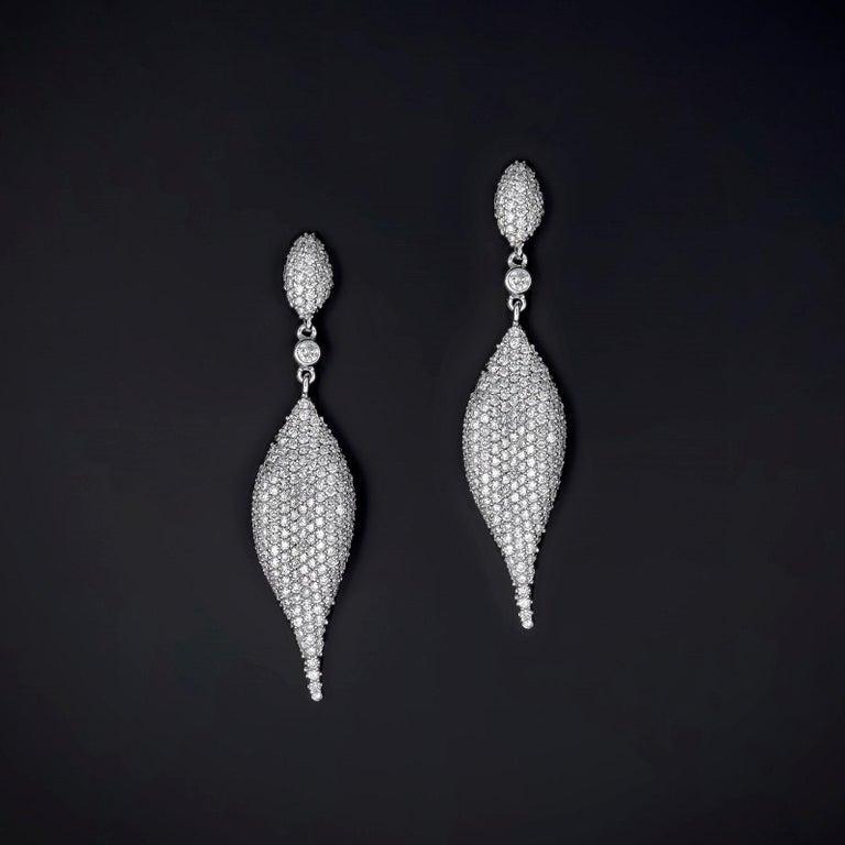 5.14 Carat Total Weight Diamond Modern Leaf Dangle Earrings in 14 Karat Gold 2