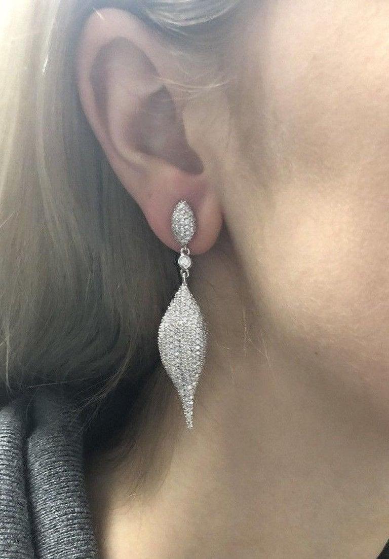 5.14 Carat Total Weight Diamond Modern Leaf Dangle Earrings in 14 Karat Gold 4