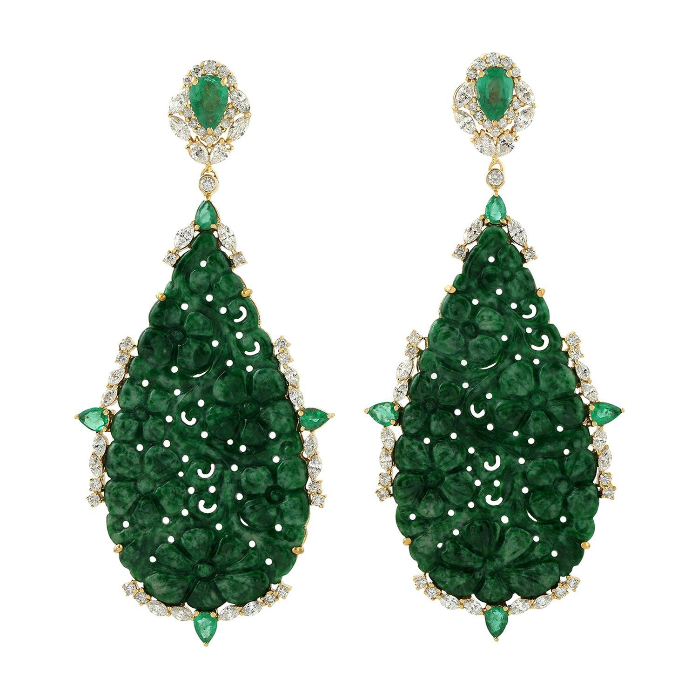 51.5 Carat Carved Jade Emerald 18 Karat Gold Diamond Earrings