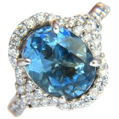 5.15 Carat Natural Prime Aqua Blue Aquamarine Diamonds Ring 14 Karat