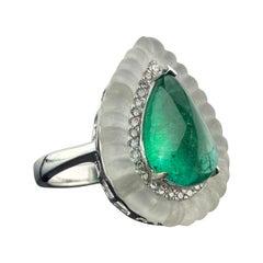 5.15 Carat Pear Shape Cabochon Emerald Art Deco Style Ring