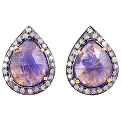 5.15 Carat Tanzanite Diamond Stud Earrings