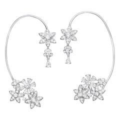 5.15 Carat White Diamond 18 Karat White Gold Cherry Blossom Earcuffs