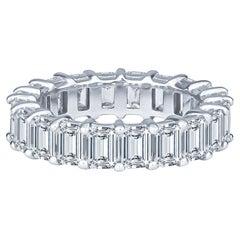 5.15ctw Emerald Cut Diamond Eternity Band, G-H Color & VS1+ Clarity in Platinum
