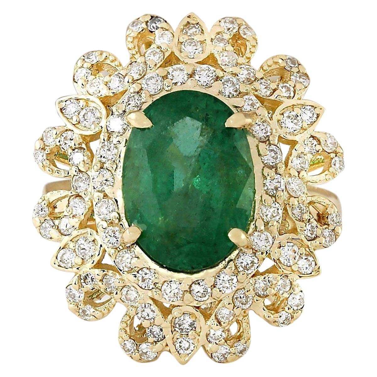 5.16 Carat Natural Emerald 18 Karat Yellow Gold Diamond Ring