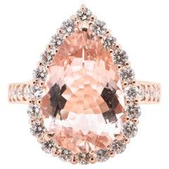 5.16 Carat Natural Morganite and Diamond Cocktail Ring Set in 18 Karat Rose Gold
