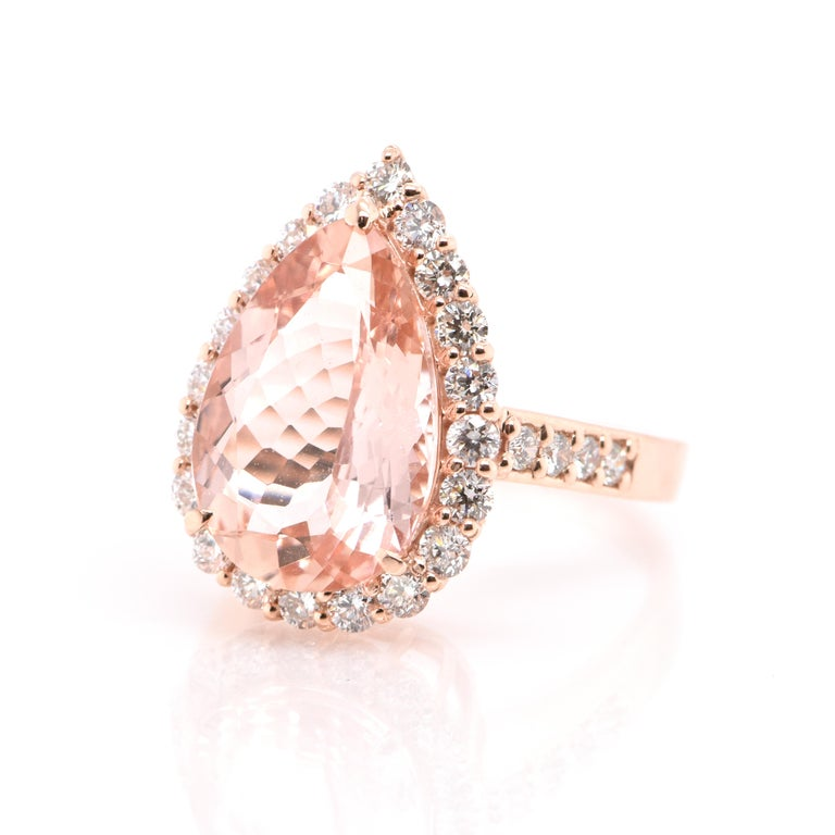 A beautiful Cocktail Ring featuring a 5.16 Carat Natural Morganite (Pink Beryl) and 1.00 Carats of Diamond Accents set in 18 Karat Rose Gold. Having been first discovered in the early 1900s, Morganite was named after the famed banker and gem