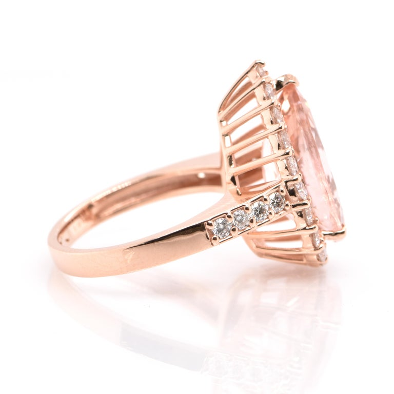 Pear Cut 5.16 Carat Natural Morganite and Diamond Cocktail Ring Set in 18 Karat Rose Gold For Sale