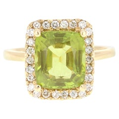 5.16 Carat Peridot Diamond 14 Karat Yellow Gold Ring