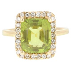 5.16 Carat Peridot Diamond 14 Karat Yellow Gold Ring