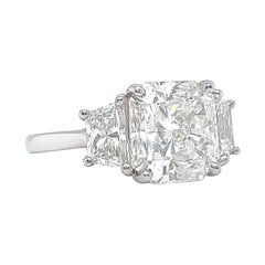 5.16ct Radiant Cut Diamond Engagement Ring Vintage Platinum