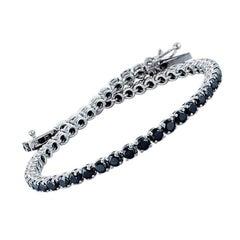 5.17 Carat Black Diamonds Tennis Bracelet 14K White Gold
