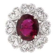 5.17 Carat Rubellite Tourmaline and Diamonds Cluster Heart Ring, 18 Karat Gold