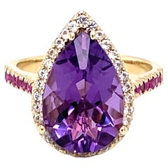 5.18 Carat Amethyst Pink Sapphire White Sapphire 14K Yellow Gold Cocktail Ring