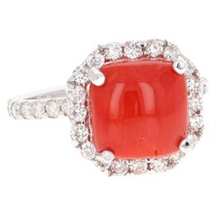5.18 Carat Coral and Diamond White Gold Bridal Ring