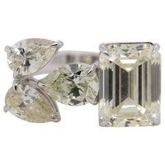 5.18 Carat Emerald Cut and Pear Shape Diamond Ring