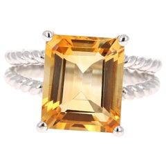 5.18 Carat Emerald Cut Citrine Quartz White Gold Cocktail Ring
