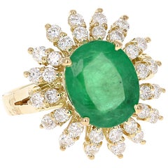 5.18 Carat Emerald Diamond 18 Karat Yellow Gold Cocktail Ring