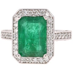 5.18 Carat Emerald Diamond White Gold Engagement Ring