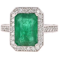 5.18 Carat Emerald Diamond White Gold Engagement Ring