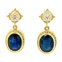5.18 Carat Total Blue Sapphire Oval & Diamond Yellow Gold Bezel Set Earrings