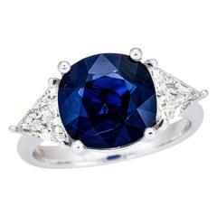 5.18 Carat Vivid Blue Sapphire, Sri Lanka GRS Certified, Unheated Ceylon Ring