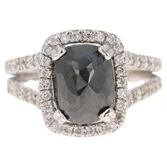 5.19 Carat Black White Diamond 14 Karat White Gold Engagement Ring