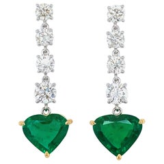 5.19 Carat GRS Certified Vivid Green No Oil Emerald and Diamond Earrings