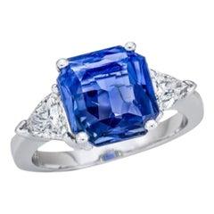 5.19 Carat Sri Lanka Sapphire GIA Certified Unheated Ceylon Ring Octagonal Cut
