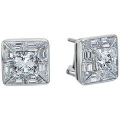 5.19 Carat Total Weight Platinum Cushion Cut Diamond Earrings