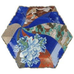 Japanese Porcelain Polychrome Charger CRANE Flowers Marked, circa 1900